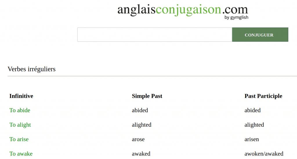 La Conjugaison Des Verbes Irreguliers En Anglais Formanglais